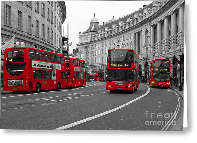 Transport For London Greeting Cards - Red London Buses Greeting Card by SteveHPhotos