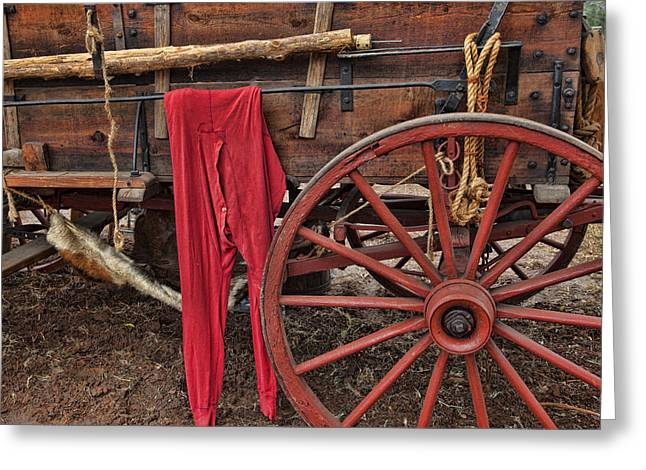 Sideboard Greeting Cards - Red long johns Greeting Card by Toni Hopper
