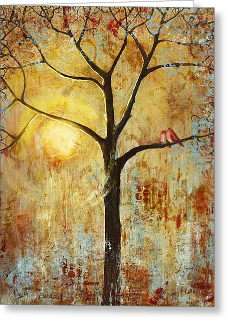 Sunrise Greeting Cards - Red Love Birds in a Tree Greeting Card by Blenda Studio