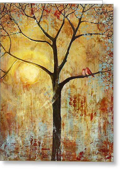 Warm Greeting Cards - Red Love Birds in a Tree Greeting Card by Blenda Studio