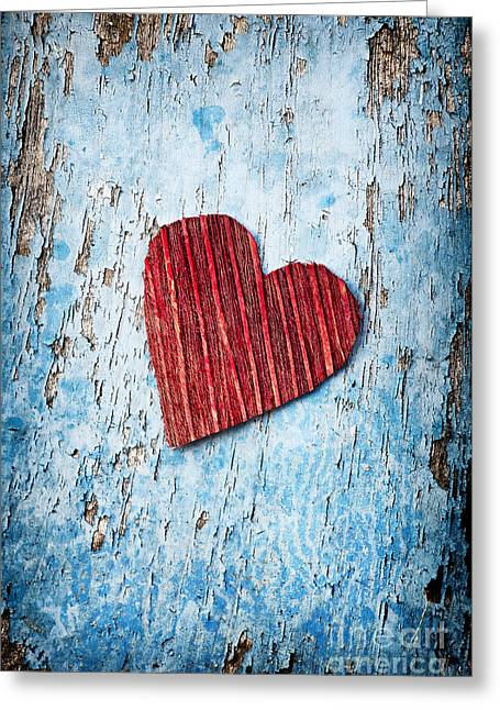 Peeling Greeting Cards - Red Love Heart  Greeting Card by Tim Gainey