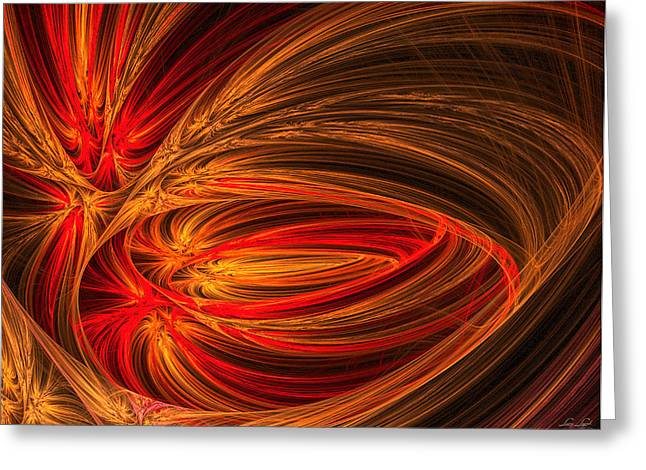 Fractal Flower Greeting Cards - Red Luminescence-Fractal Art Greeting Card by Lourry Legarde