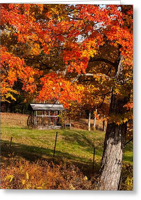 Geobob Greeting Cards - Red Maples and farm Equipment Marlboro Vermont Greeting Card by Robert Ford