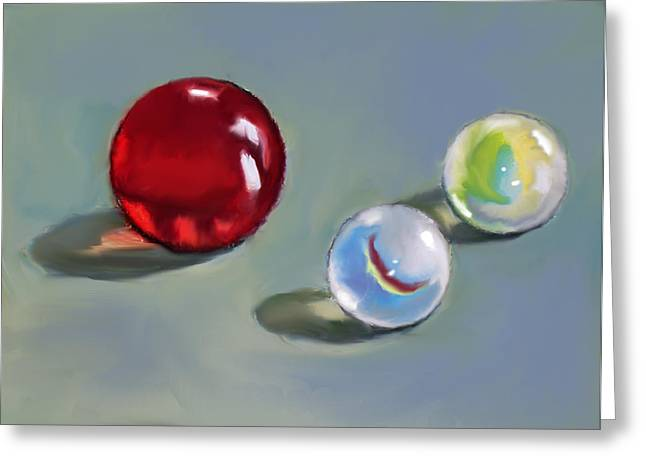Red Marble And Friends Greeting Card by Joyce Geleynse