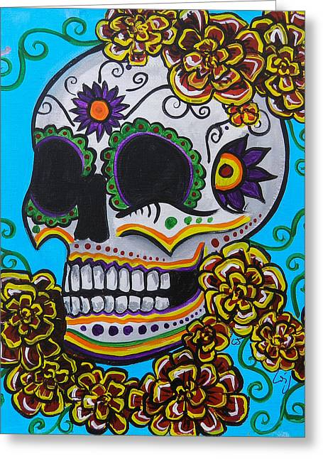 Marigold Festival Greeting Cards - Red  Marigold Skull Greeting Card by Lovejoy Creations