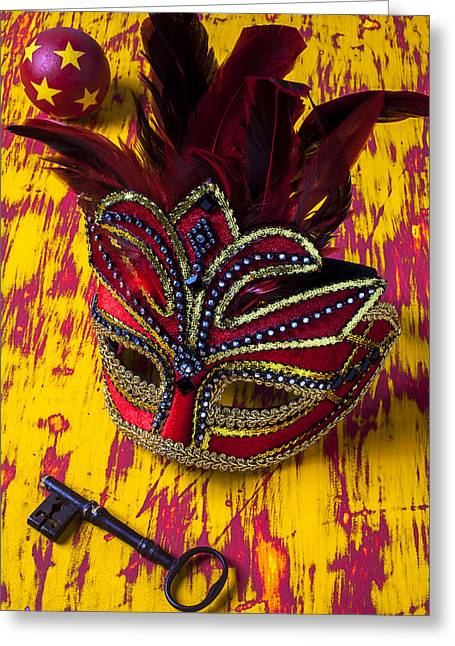 Theater Masks Greeting Cards - Red mask and key Greeting Card by Garry Gay