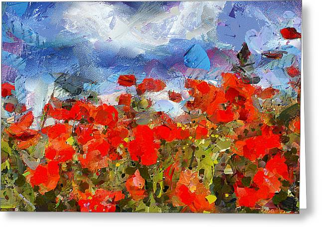 Harvest Art Digital Art Greeting Cards - Red Meadow Greeting Card by Yury Malkov