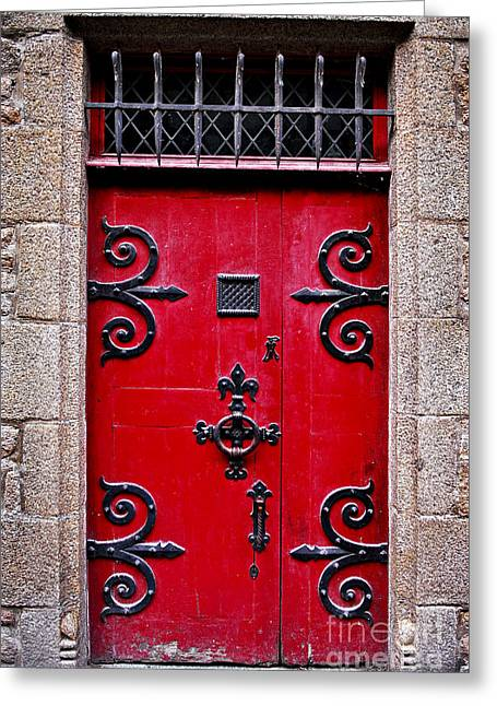 France Doors Greeting Cards - Red medieval door Greeting Card by Elena Elisseeva