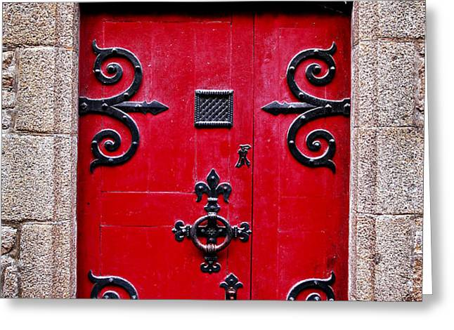 Red medieval door Greeting Card by Elena Elisseeva