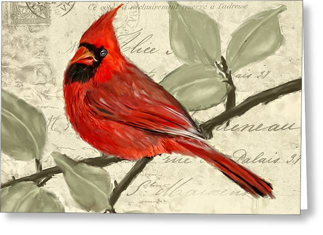 Male Northern Cardinal Greeting Cards - Red Melody Greeting Card by Lourry Legarde