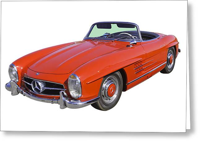 Old Auto Greeting Cards - Red Mercedes Benz 300 SL Convertible Greeting Card by Keith Webber Jr