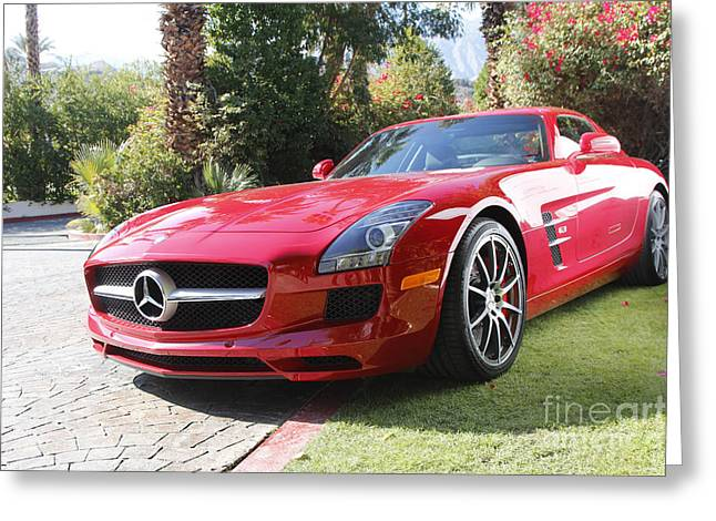 Red Mercedes Benz Greeting Card by Nina Prommer