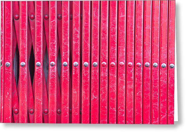 Abstract Style Greeting Cards - Red metal bars Greeting Card by Tom Gowanlock
