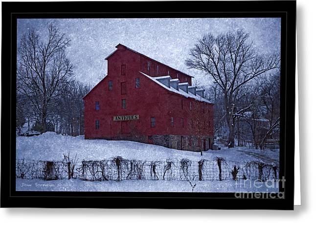 Red Roofed Barn Greeting Cards - Red Mill Antique Barn Greeting Card by John Stephens