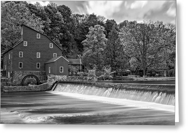 Red Mill Historic Village Greeting Cards - Red Mill At Clinton BW Greeting Card by Susan Candelario