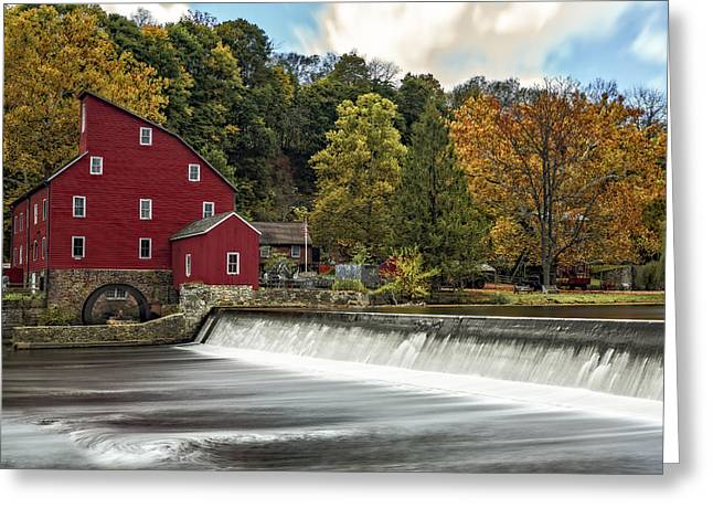 Red Mill Historic Village Greeting Cards - Red Mill At Clinton Greeting Card by Susan Candelario