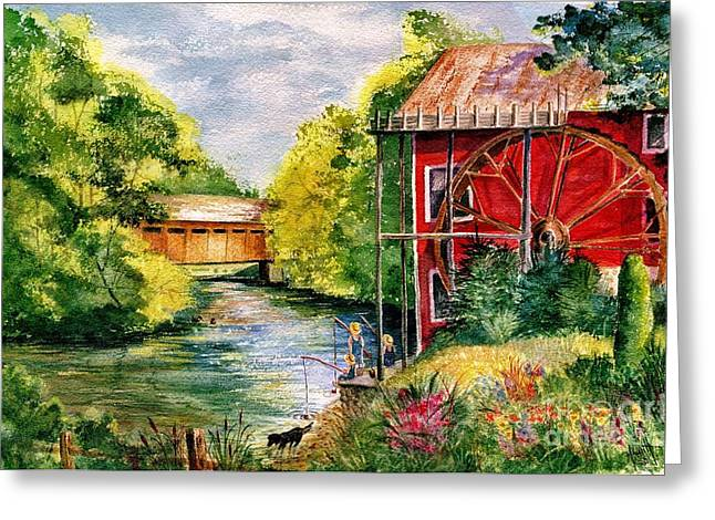 Old Mill Scenes Paintings Greeting Cards - Red Mill at Waupaca Greeting Card by Marilyn Smith