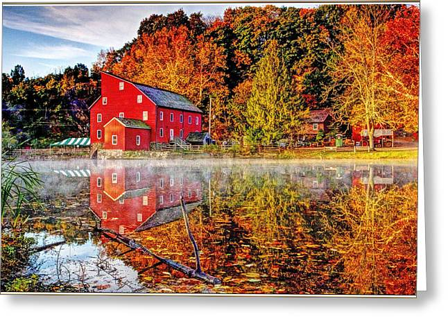 Haunted House Greeting Card Greeting Cards - Red Mill in Clinton New Jersey series Greeting Card by Geraldine Scull