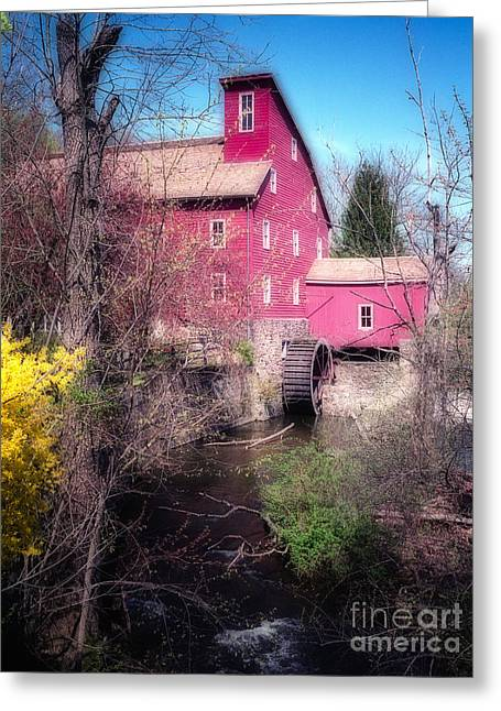 Red Mill Historic Village Greeting Cards - Red Mill in Early Spring Greeting Card by George Oze