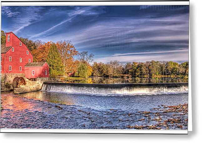 Haunted House Greeting Card Greeting Cards - Red Mill Pano Greeting Card by Geraldine Scull