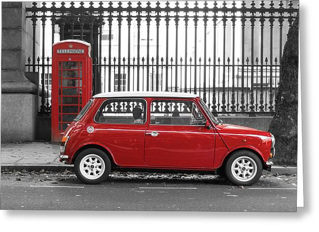 Sixties Style Automobile Greeting Cards - Red Mini Cooper in London Greeting Card by Dutourdumonde Photography