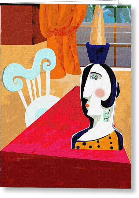 Interior Still Life Digital Art Greeting Cards - Red Miro Greeting Card by Olga Sheyn