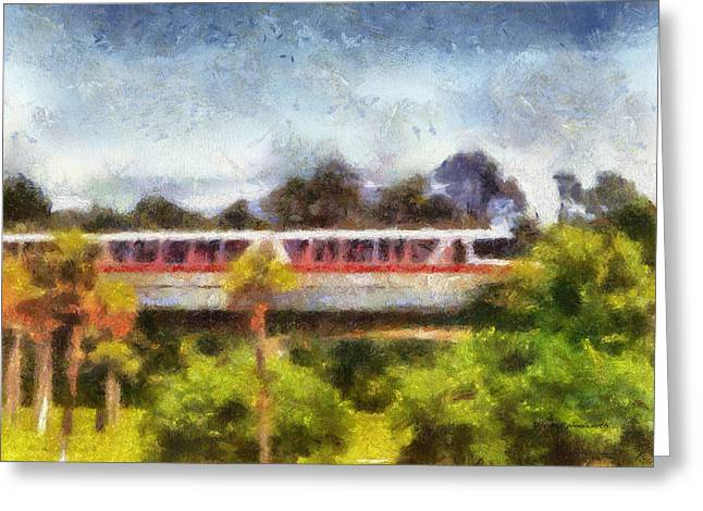 Main Street Greeting Cards - Red Monorail WDW Photo Art Greeting Card by Thomas Woolworth