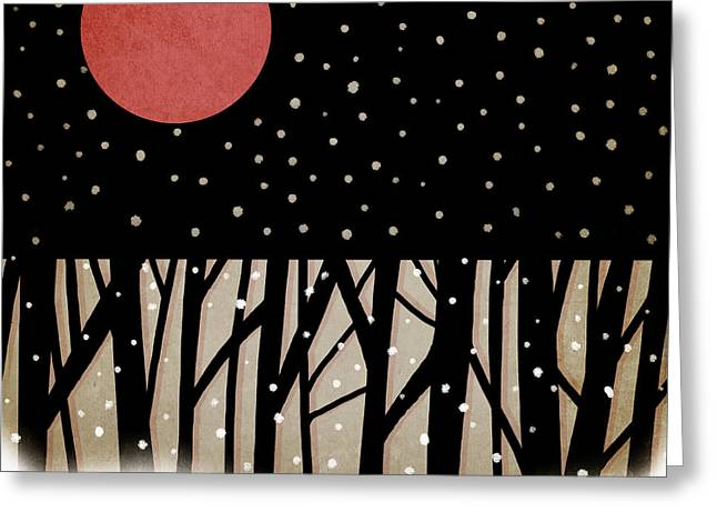Celestial Digital Greeting Cards - Red Moon and Snow Greeting Card by Carol Leigh