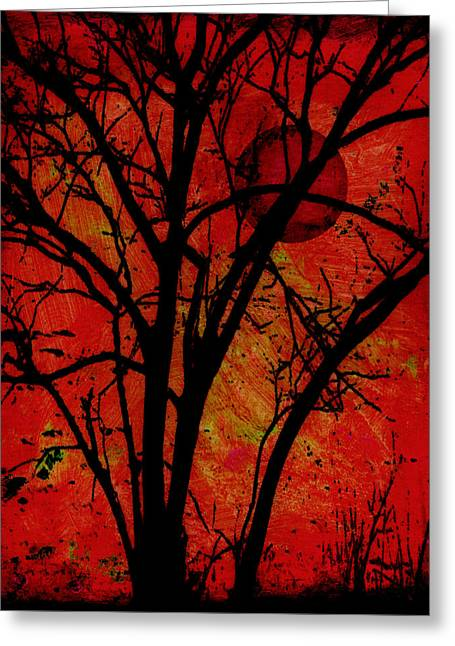 Paint Photograph Greeting Cards - Red Moon Greeting Card by Ann Powell