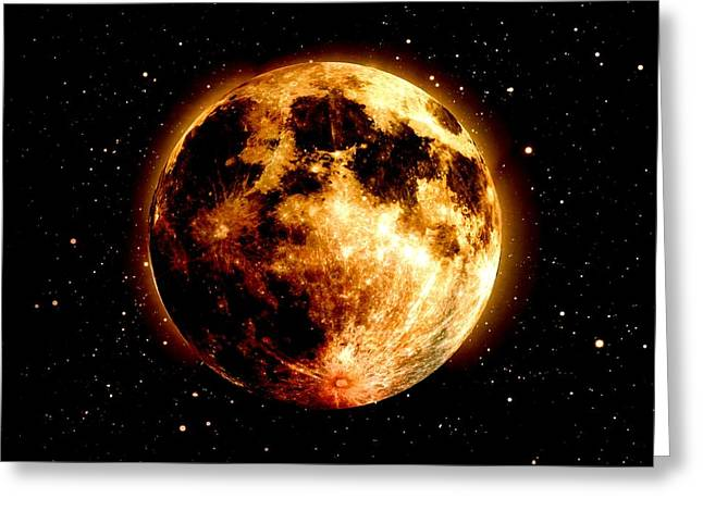 Red Moon Greeting Card by James Barnes