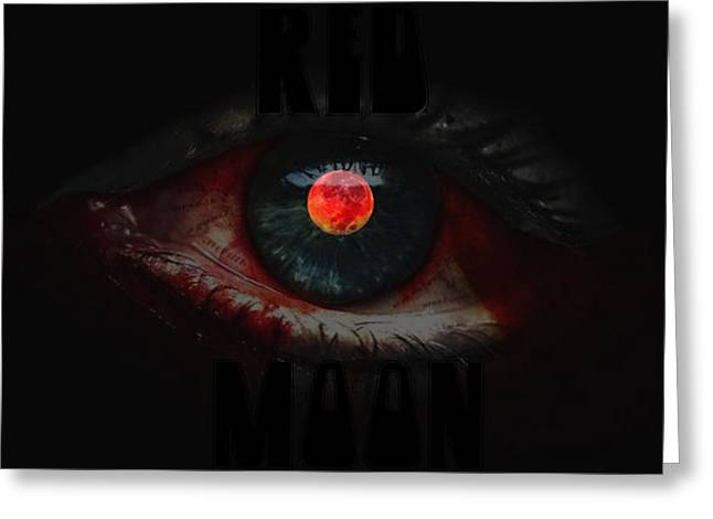 Mixtape Greeting Cards - Red Moon Greeting Card by Marin Ivanov