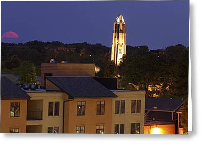Small Towns Greeting Cards - Red Moon Setting Greeting Card by Andrew Soundarajan