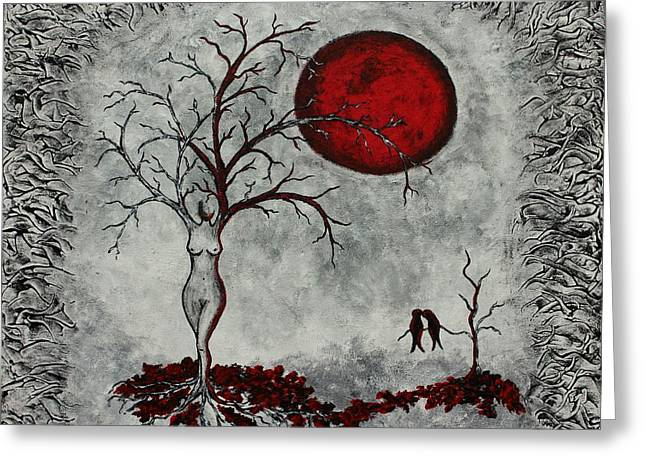 Fantasy Tree Greeting Cards - Red moon Greeting Card by Sylvia Sotuyo