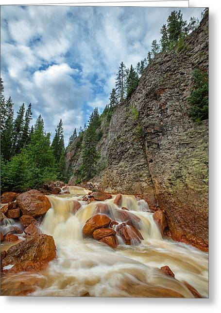 Winter Prints Greeting Cards - Red Mountain Creek Greeting Card by Darren  White