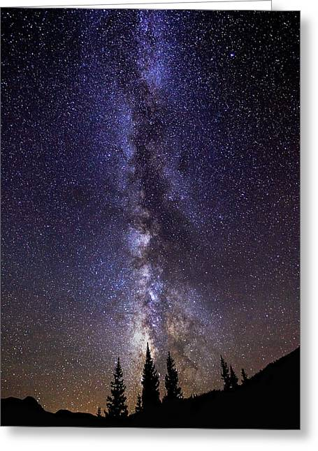 Landscape Framed Prints Greeting Cards - Red Mountain Milky Way Greeting Card by Darren  White