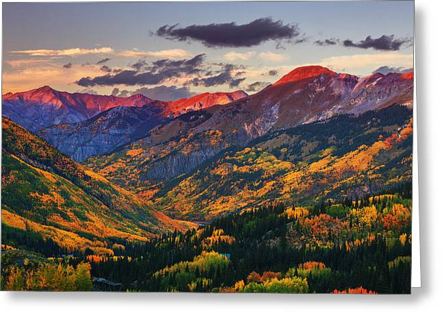 Colorado Mountain Greeting Cards Greeting Cards - Red Mountain Pass Sunset Greeting Card by Darren  White