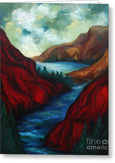 Craters Paintings Greeting Cards - Red Mountains II Greeting Card by Larry Martin