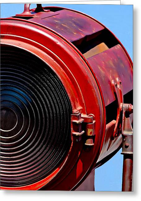 Technical Photographs Greeting Cards - Red Movie Light Greeting Card by Art Block Collections