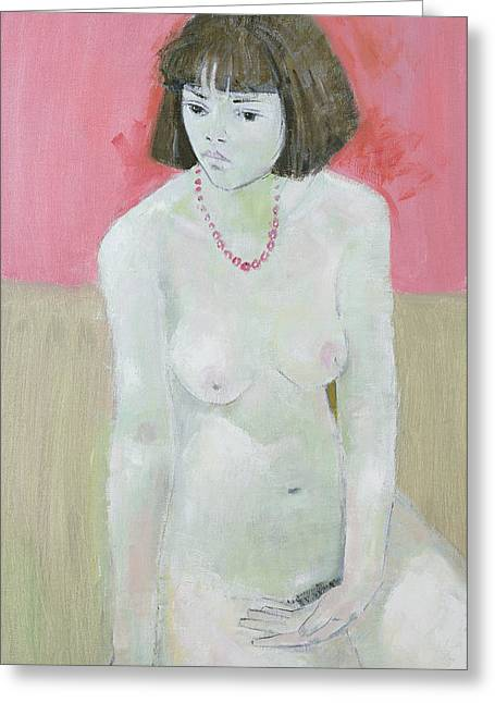 Hairstyle Greeting Cards - Red Necklace Greeting Card by Endre Roder