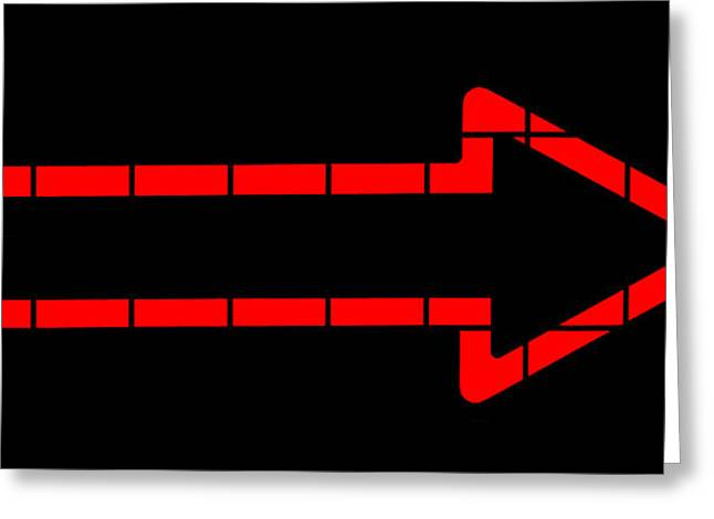 Advertise Greeting Cards - Red Neon Arrow  Greeting Card by Chay Bewley