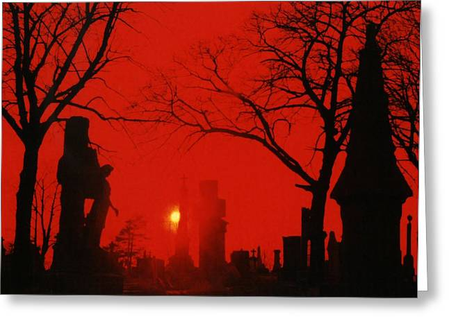 Night Angel Greeting Cards - Red Night Greeting Card by Gothicolors Donna Snyder