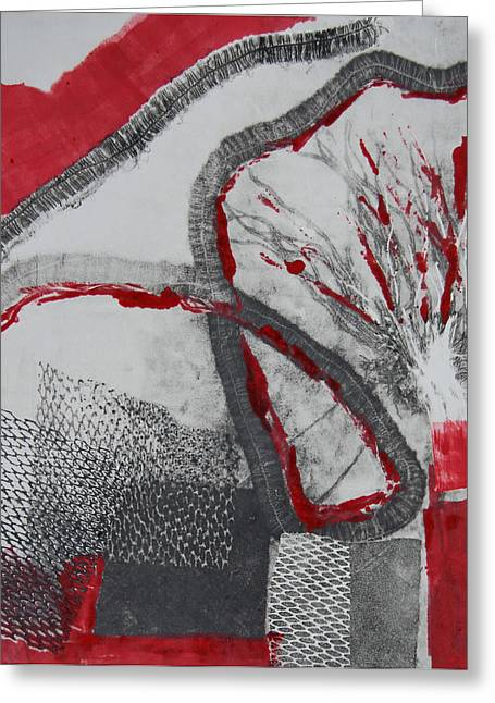 Monotype Greeting Cards - Red on Black Greeting Card by Alexandra Jordankova