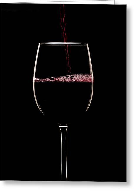 Goblet Greeting Cards - Red on black Greeting Card by Jerry Deutsch