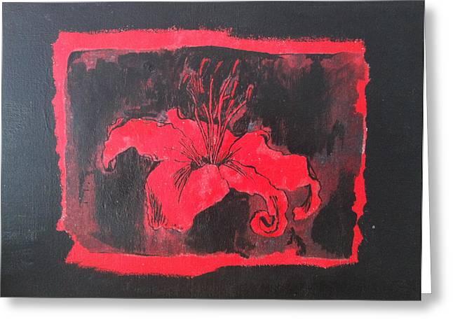 Red On Black Greeting Card by Megan Washington