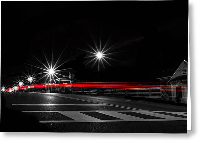 Crosswalk Greeting Cards - Red on Black Greeting Card by Shelby  Young
