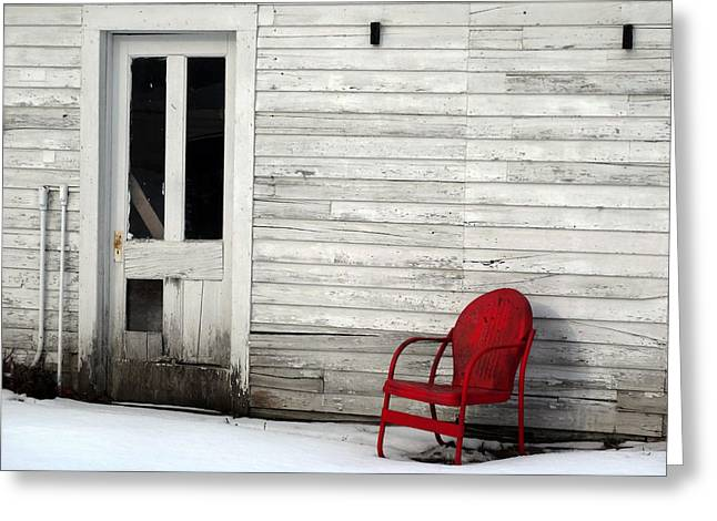 Lawn Chair Greeting Cards - Red on White Greeting Card by David T Wilkinson