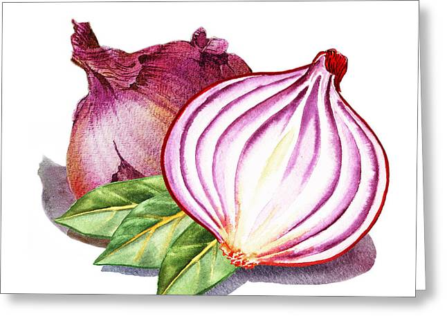 Sour Greeting Cards - Red Onion And Bay Leaves Greeting Card by Irina Sztukowski