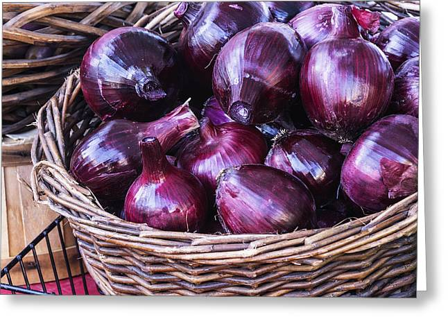 Local Food Greeting Cards - Red onion Greeting Card by Vishwanath Bhat