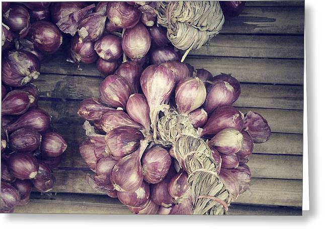Local Food Greeting Cards - Red Onions Greeting Card by Ivy Ho
