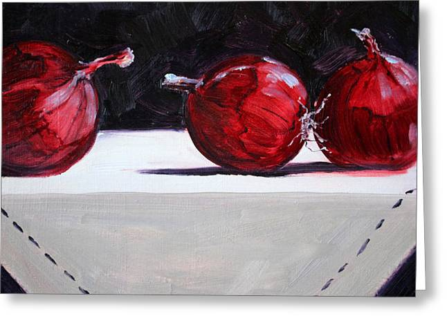 Table Cloth Greeting Cards - Red Onions Greeting Card by Nancy Merkle